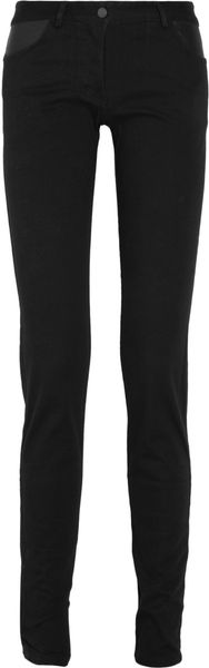 T By Alexander Wang Leather-Paneled Stretch-Cotton Skinny Jeans - Lyst