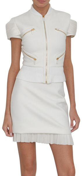 Versace Short Sleeve Pleated Jacket in White