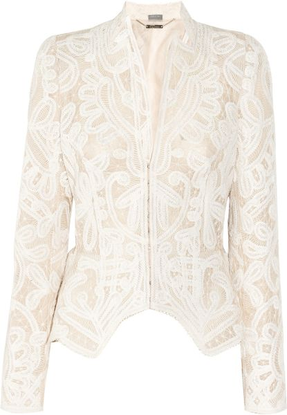 Alexander Mcqueen Crochet-embroidered Silk-organza Jacket in White (blush) - Lyst