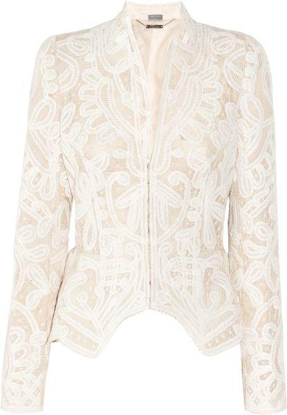Alexander Mcqueen Crochet-embroidered Silk-organza Jacket in White (blush)