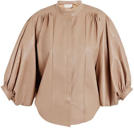 Chloé Soft Leather Pleated Jacket in Beige (nude)