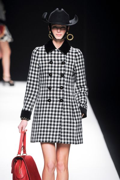 Moschino Fall 2012 Long Black and White Checkered Coat with Velvet Embellished Collar  in Black - Lyst