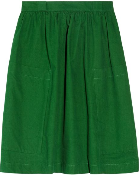 see by chlo 233 high waisted cotton canvas skirt in green lyst
