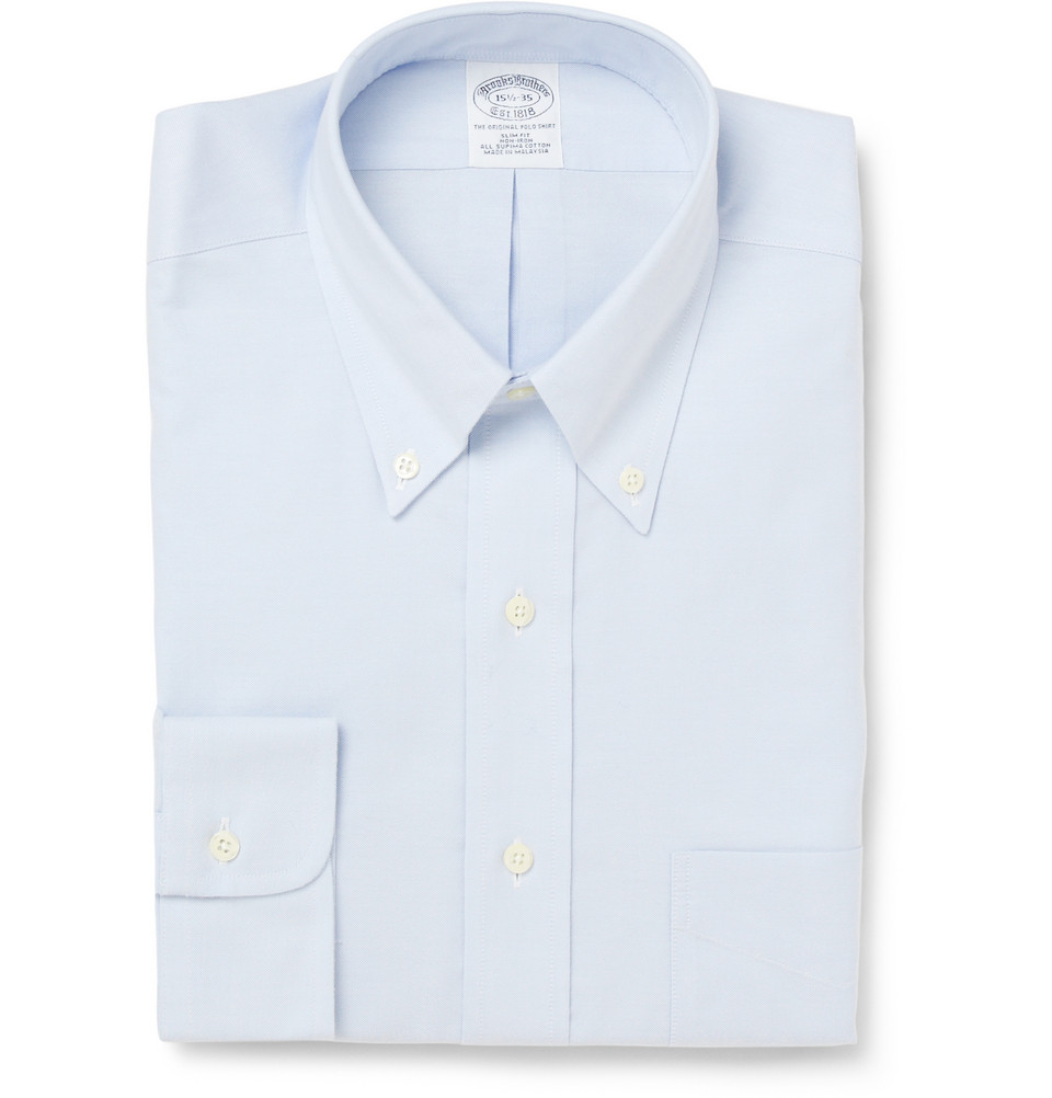 Brooks brothers non iron button down oxford shirt in blue for Brooks brothers non iron shirts review