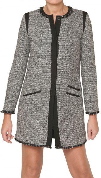 Space Tweed Coat in Gray (black)