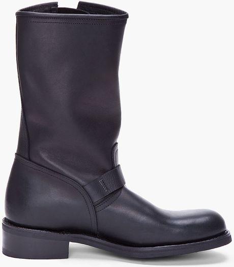 balmain black calf high boots in black for lyst