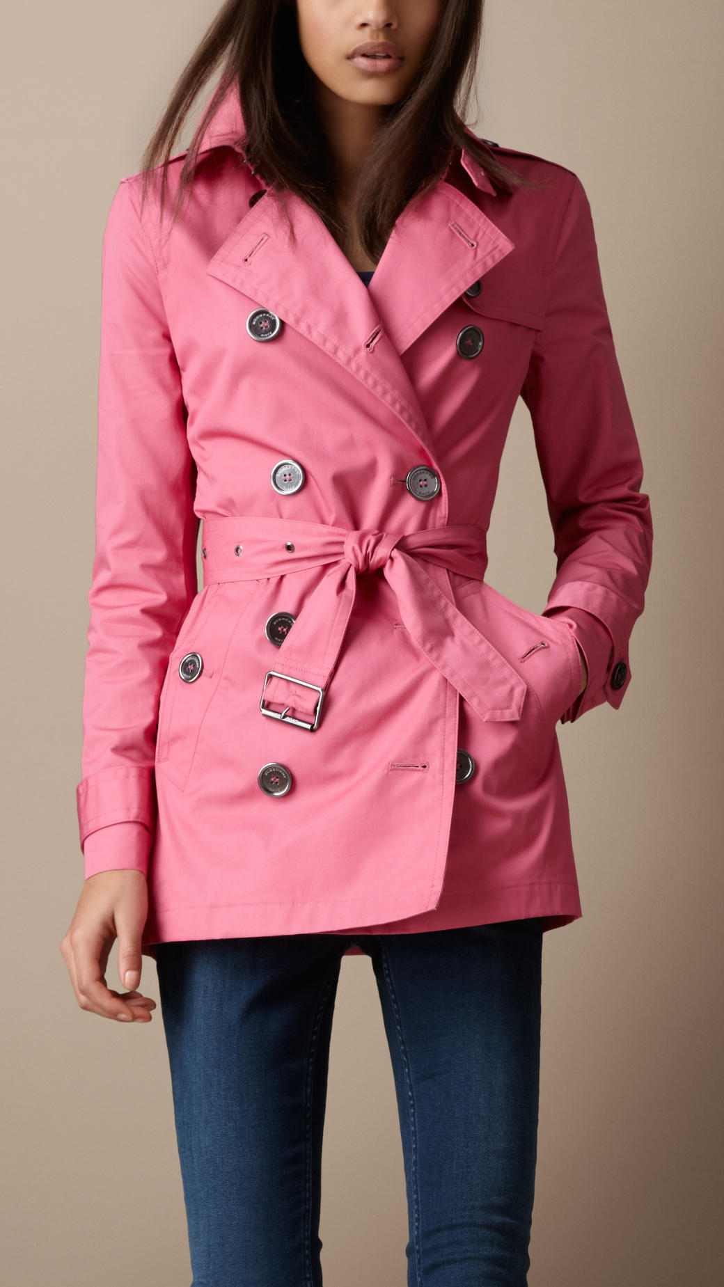 Burberry Brit Short Cotton Trench Coat In Pink (hydrangea