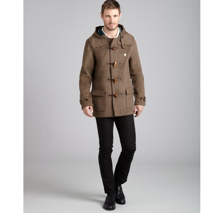 Farah Khaki Wool Blend The Hopkins Toggle Front Duffle Coat in ...