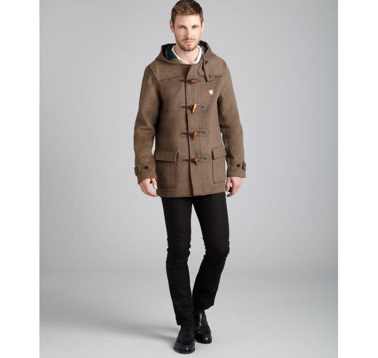 Farah Khaki Wool Blend The Hopkins Toggle Front Duffle Coat in ...