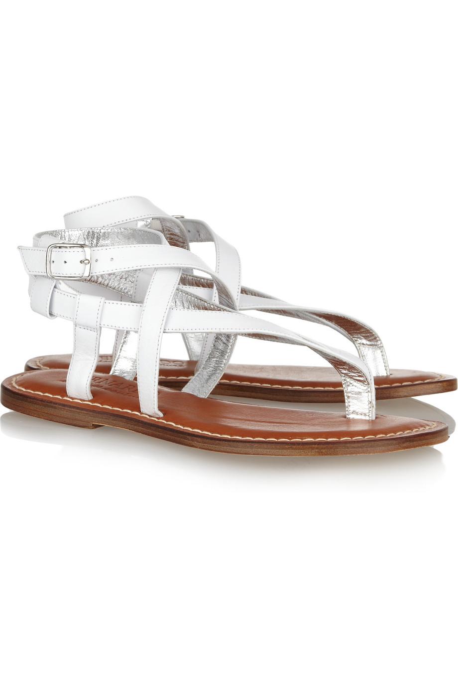 Bernardo Dazzling Leather Sandals In White Lyst