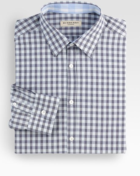 Burberry gingham check dress shirt in blue for men lyst for Gingham dress shirt men