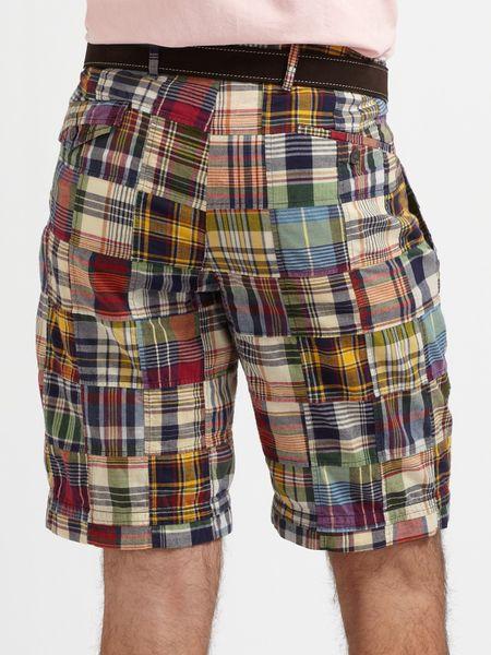 polo ralph lauren bradbury madras shorts in multicolor for