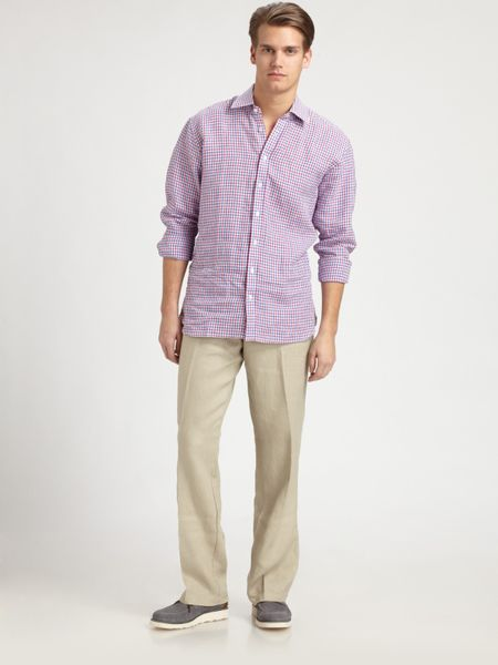 Saks Fifth Avenue Linen Drawstring Pants in Beige for Men (oyster)