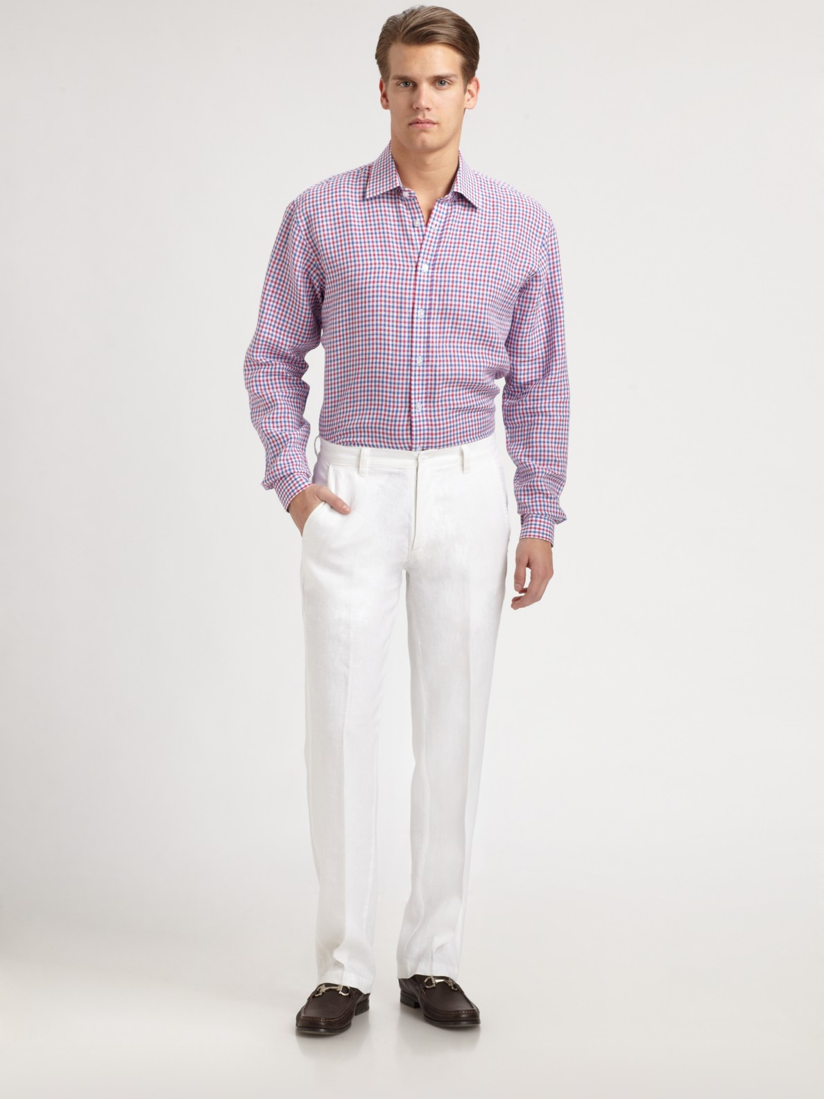Saks Fifth Avenue Linen Solid Pants In White For Men Lyst