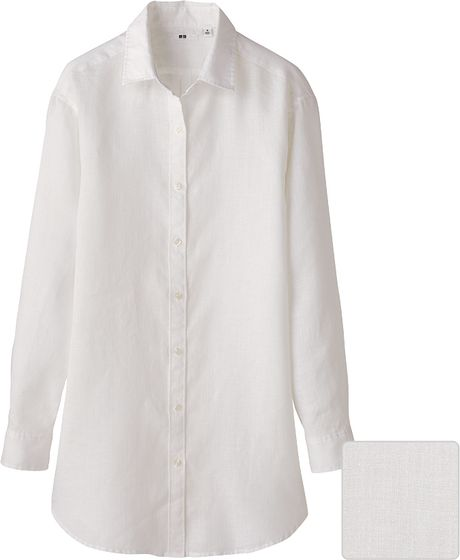 Uniqlo women premium linen long sleeve shirt tunic in for Uniqlo premium t shirt