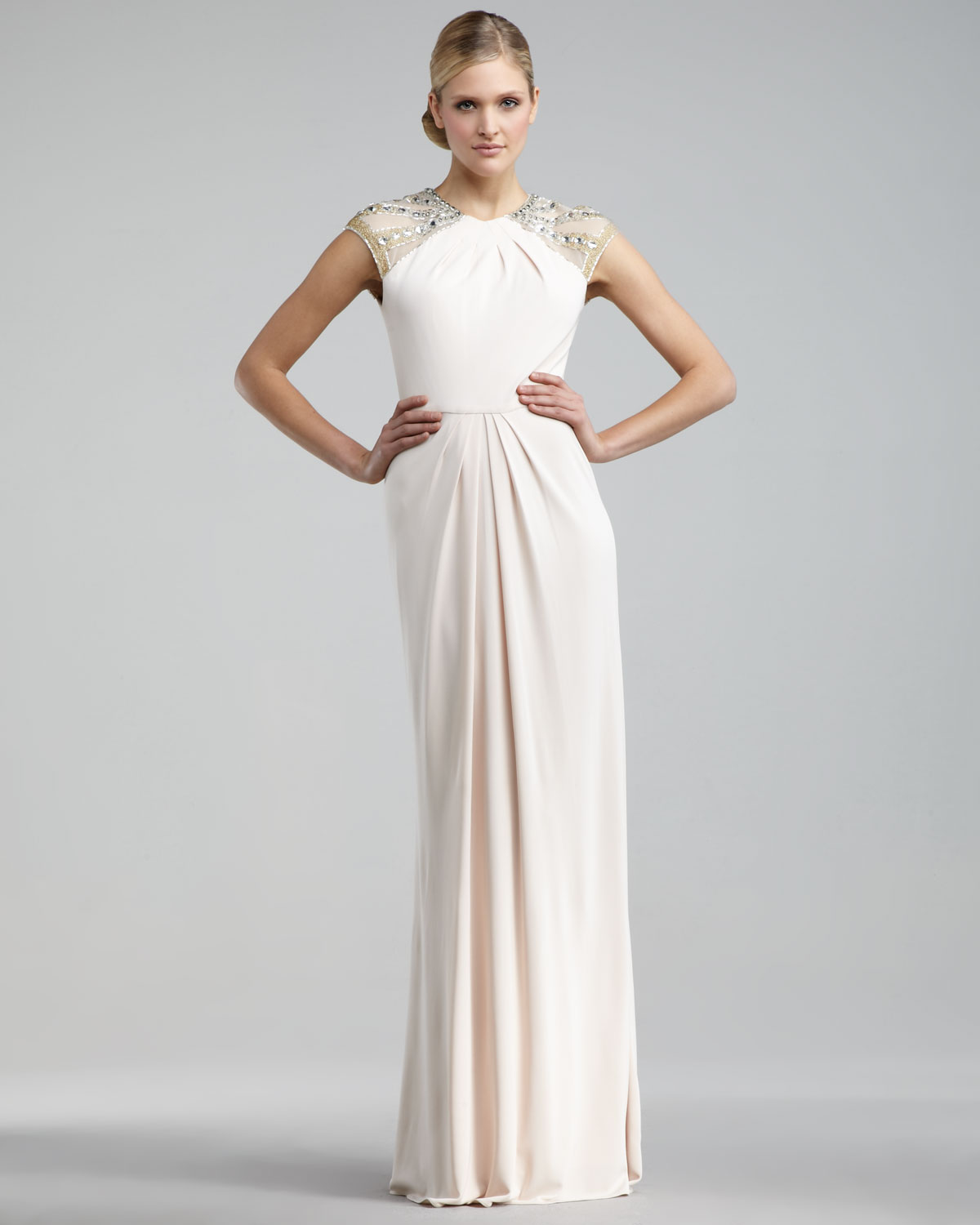 Badgley mischka beaded cap sleeve gown in natural lyst for Floor length dress