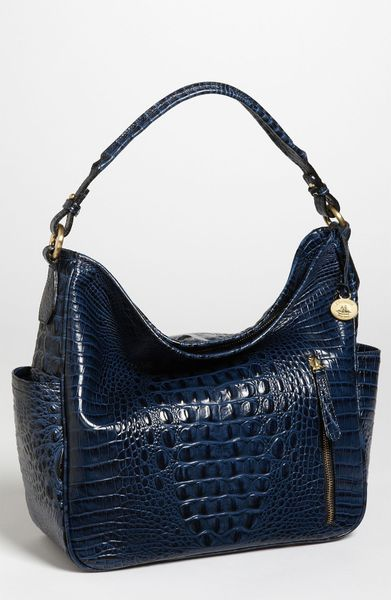 Brahmin Candace Croc Embossed Shoulder Bag in Blue (navy)