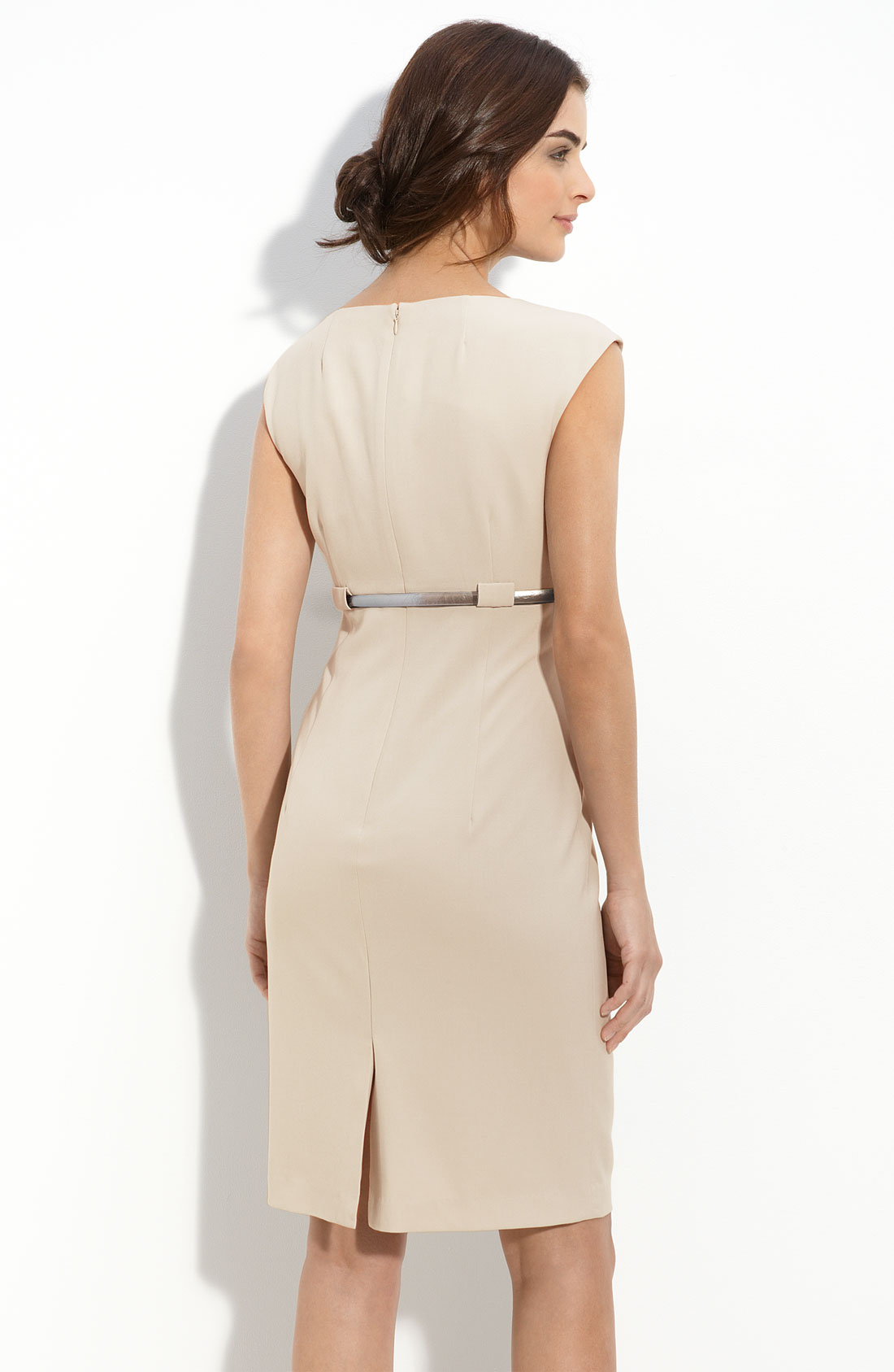 calvin klein stretch luxe belted sheath dress in beige
