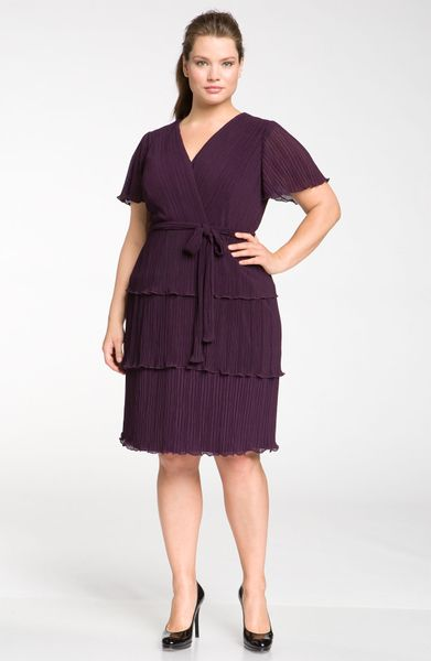Js Boutique Pleated Chiffon Fluttery Sleeve Dress in Purple (eggplant) - Lyst