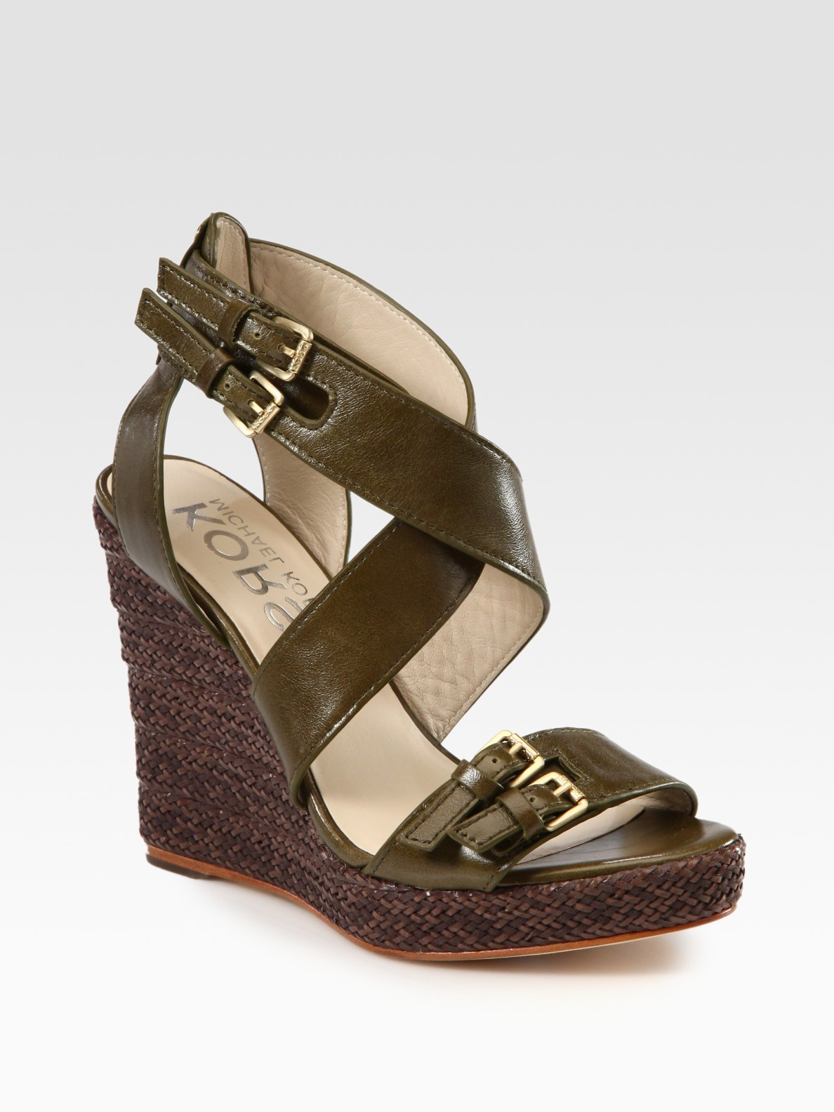 kors by michael kors westby leather espadrille wedge sandals in green olive lyst. Black Bedroom Furniture Sets. Home Design Ideas
