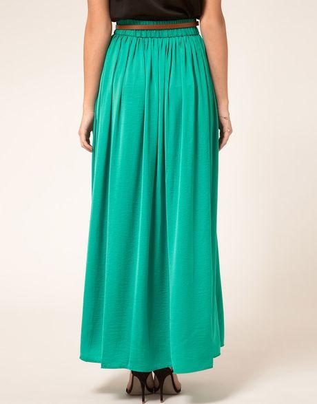 mango maxi skirt in green emerald lyst