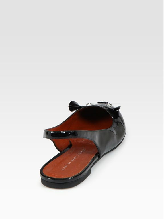 Marc By Marc Jacobs Patent Leather Slingback Mouse Ballet Flats in Black | .