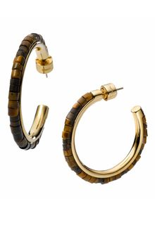 Michael by Michael Kors Michael Kors Sleek Exotics Medium Bead Hoop Earrings - Lyst