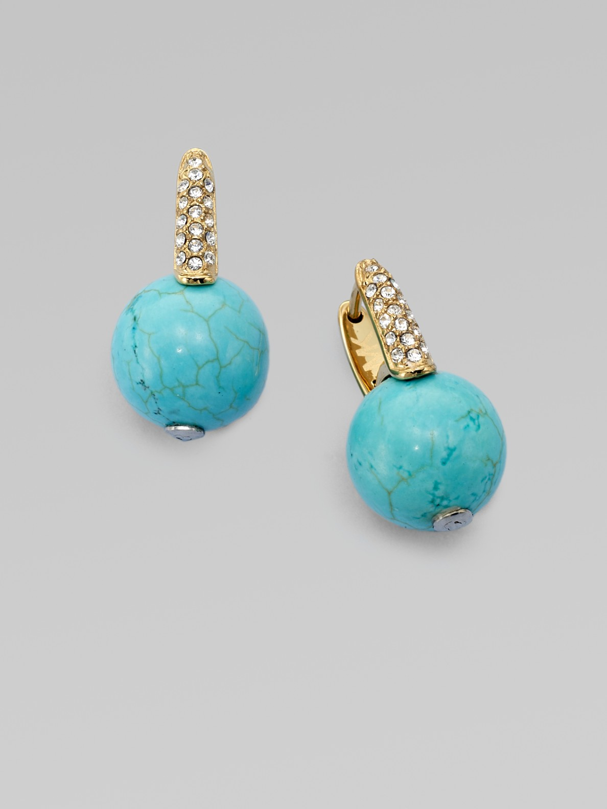Michael Kors Stone Accented Turquoise Ball Earrings In