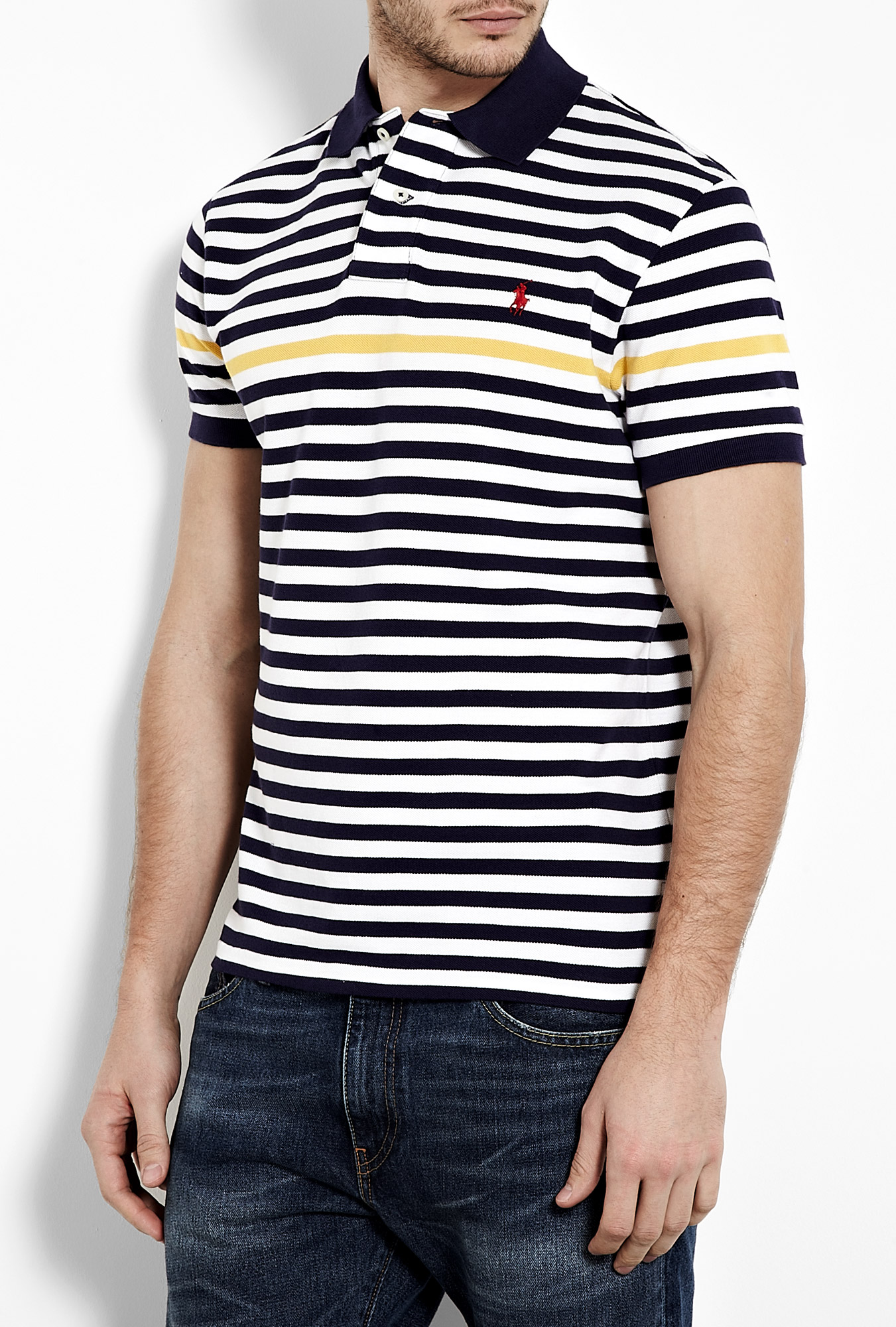 Mens polo ralph lauren polo t shirt in navy blue and white for Mens navy polo shirt