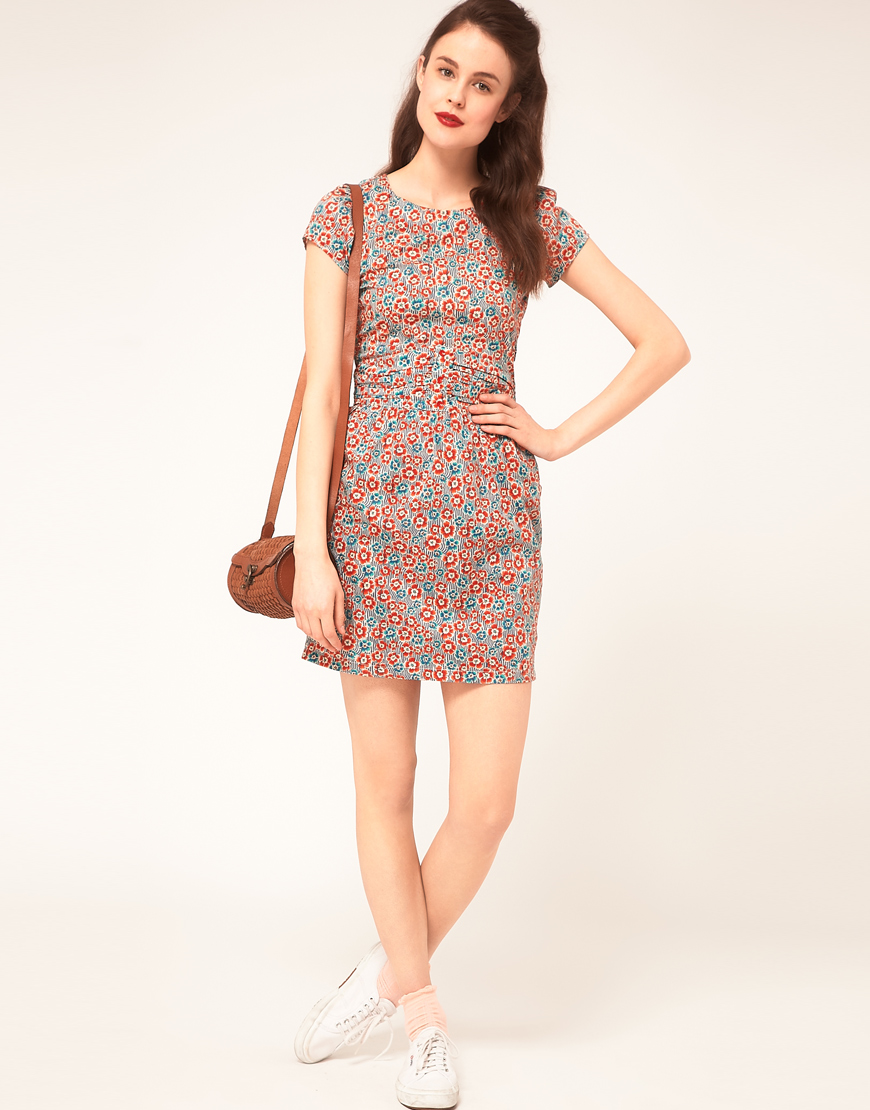 Sessun Sessun Shift Dress With Fitted Waist In Liberty