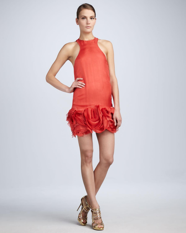Vera wang lavender Rosette-hem Cocktail Dress in Pink | Lyst