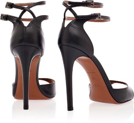 alaïa double ankle strap high heels in black  lyst