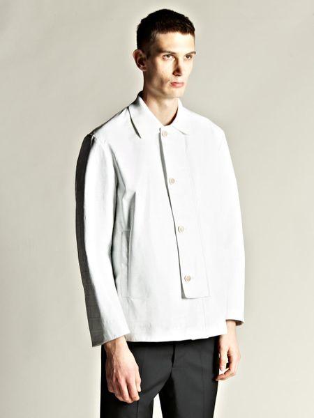 Jil Sander Mens Eel Leather Turbo Jacket in White for Men   Lyst