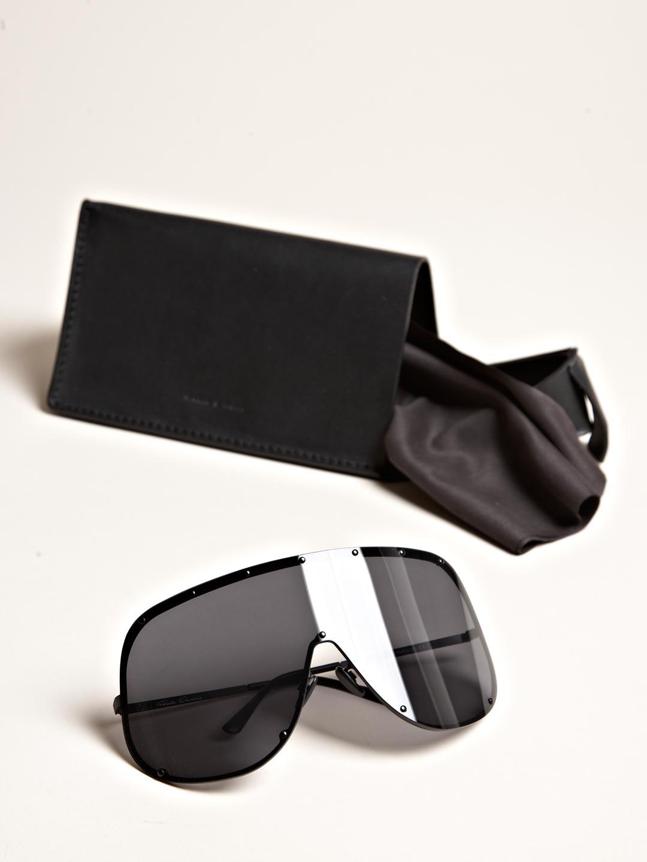 Lyst Rick Owens Oversized Black Sunglasses In Black For Men