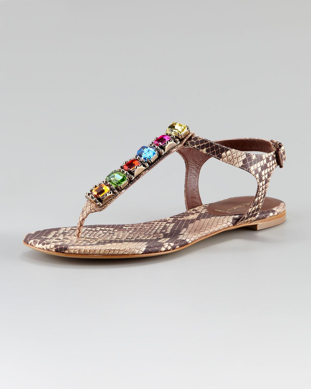 Casadei Bejeweled Python Stamped Flat Sandal Lyst