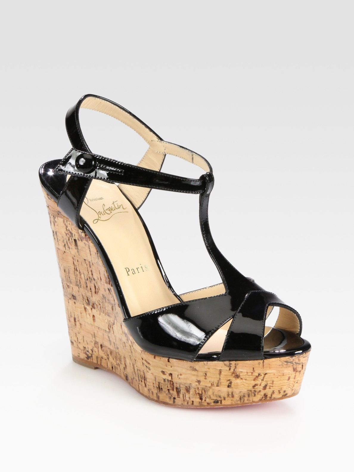christian louboutin wedge sandals Black canvas cross-over straps ...