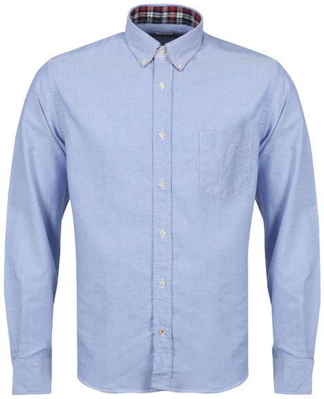 Hartford mens button down oxford shirt in blue for men lyst for Men s oxford button down shirts