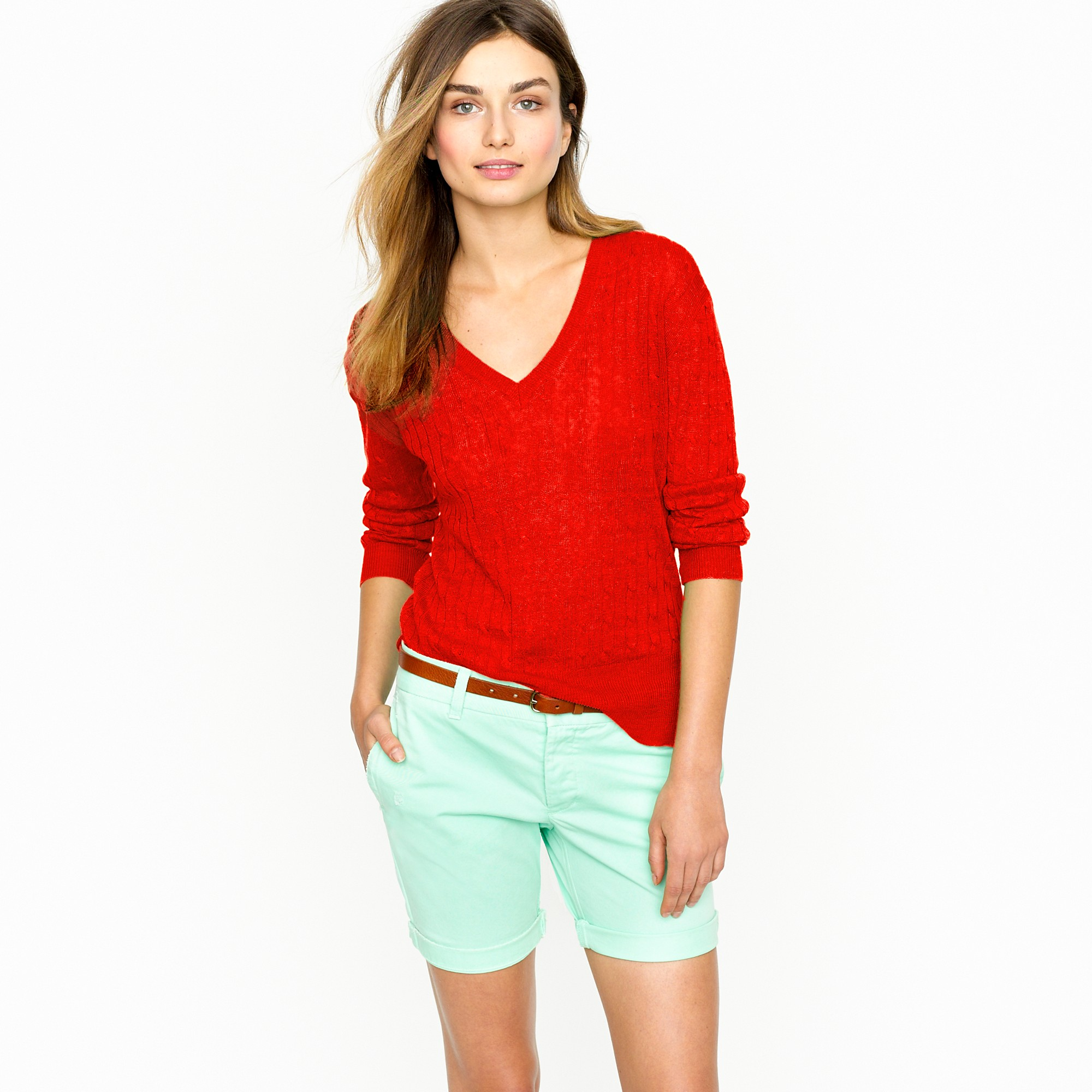 J.crew Linen V-neck Cable-knit Sweater in Red | Lyst