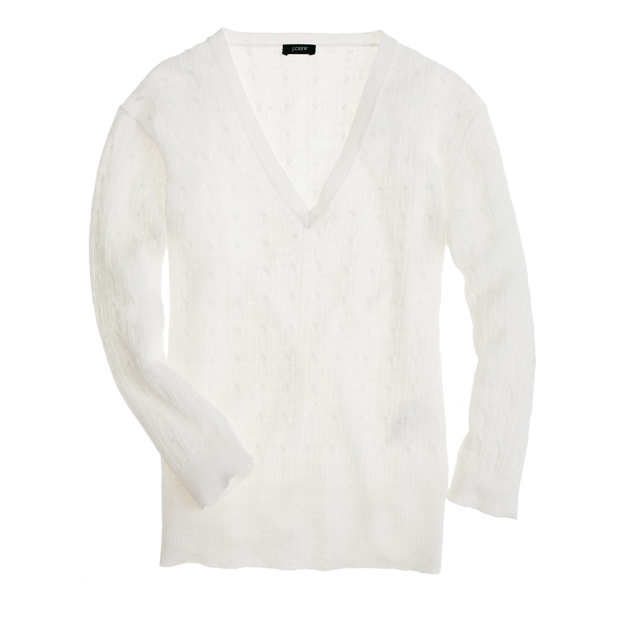 J.crew Linen V-neck Cable-knit Sweater in White | Lyst