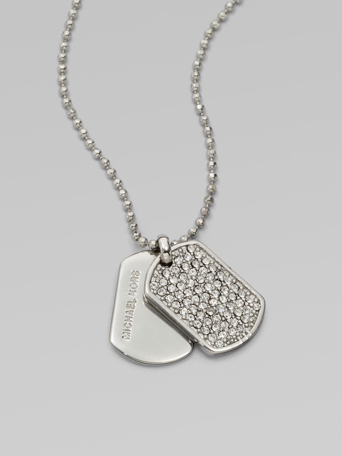 4f2f60198 Silver Dog Tag Pendant Design Ideas. Lyst Gucci Dual Diamante ...