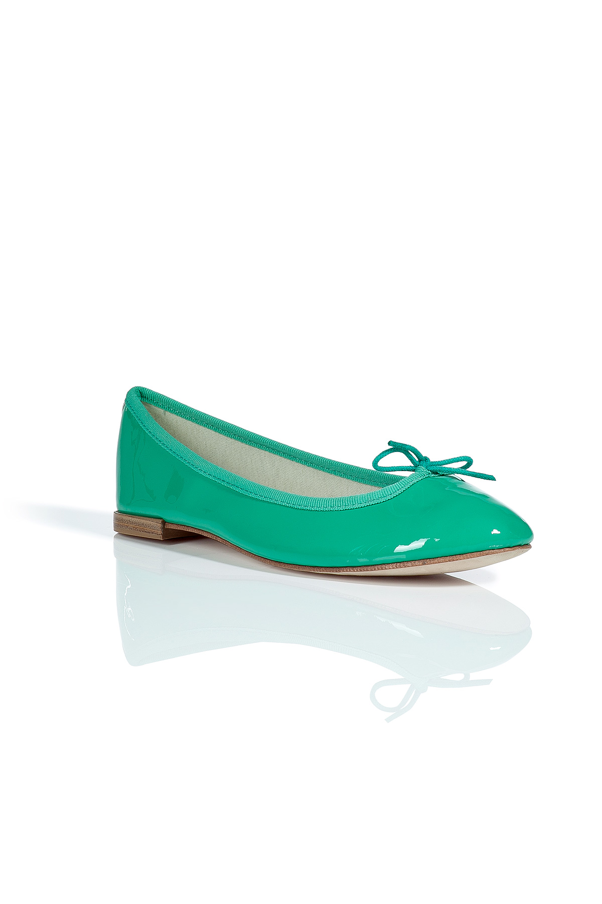 repetto patent leather bb ballet flats in green