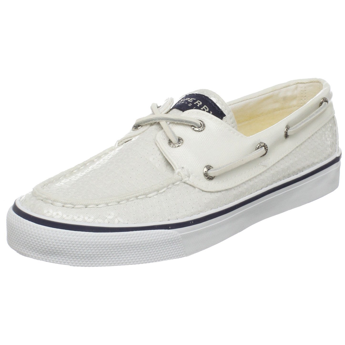 sperry top sider womens bahama sequins boat shoe in white
