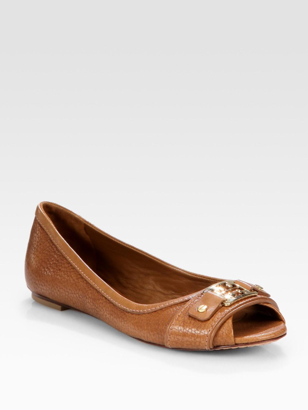 Tory Burch Leather Peep-Toe Flats outlet popular 3l8KSAEnc