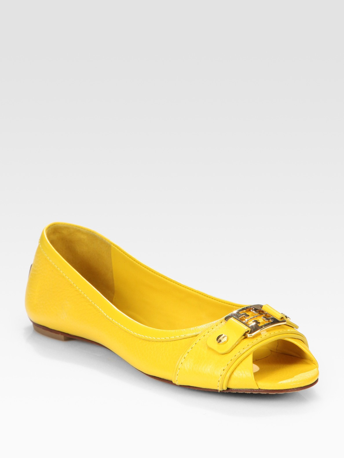 21db91c1a ... uk lyst tory burch cline leather peep toe logo ballet flats in yellow  7c707 e3295