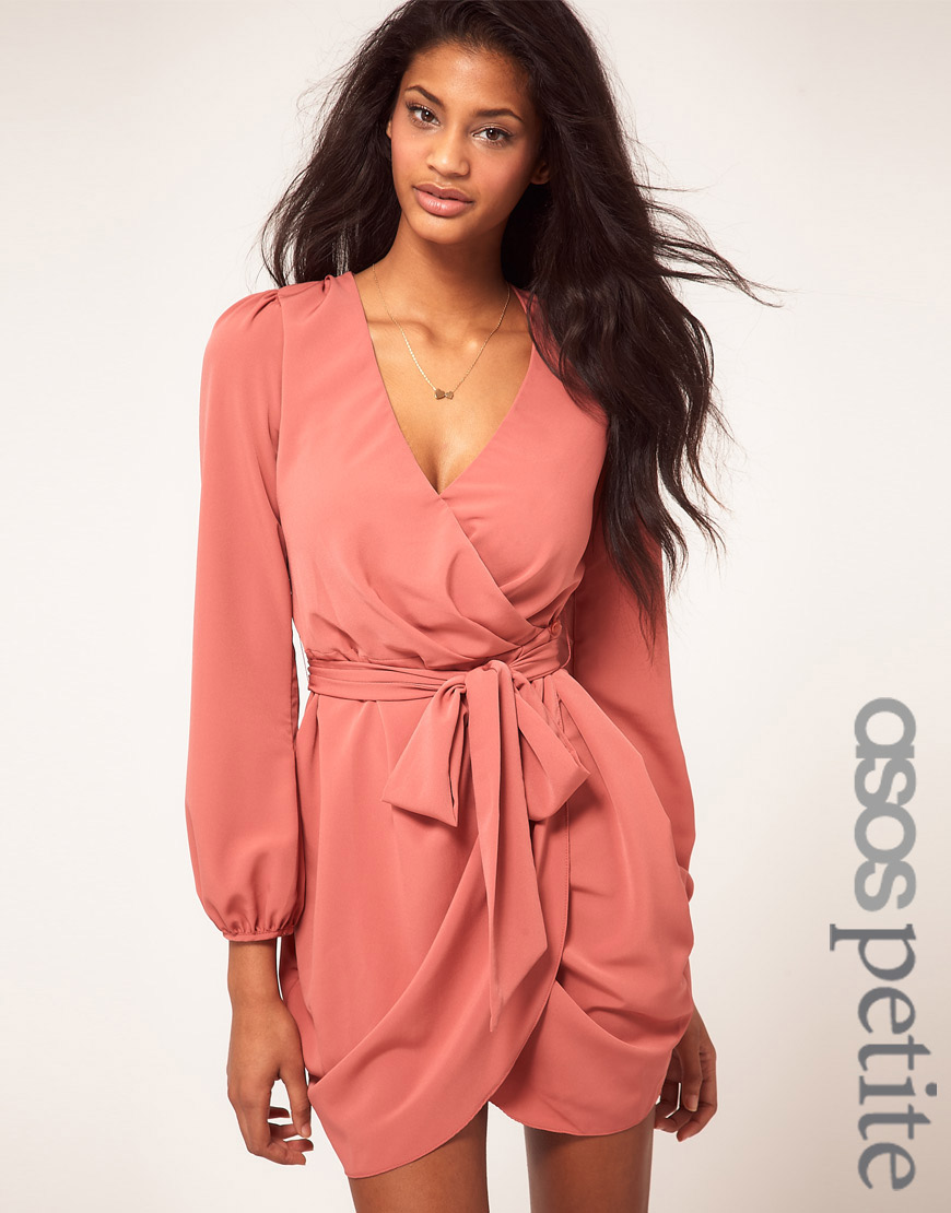 Lyst Asos Collection Asos Petite Wrap Dress With Tie
