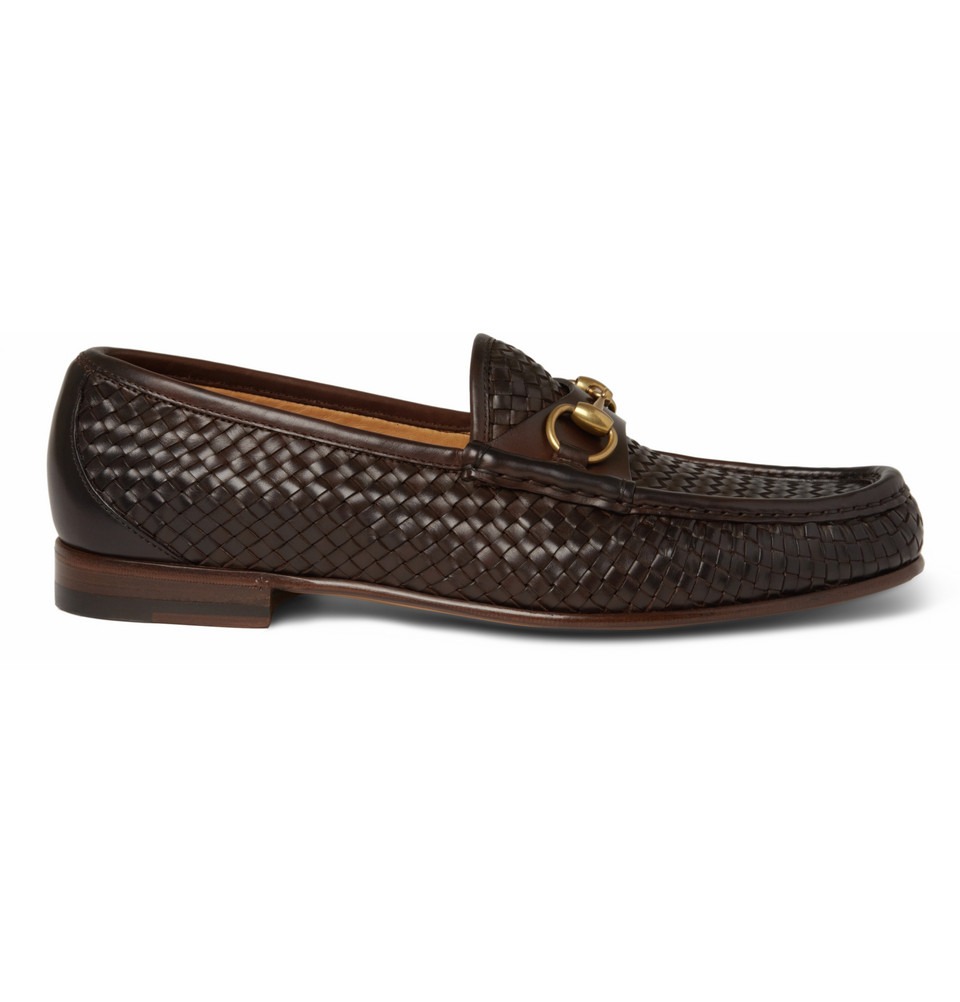 gucci woven leather horsebit loafers in brown for men lyst. Black Bedroom Furniture Sets. Home Design Ideas