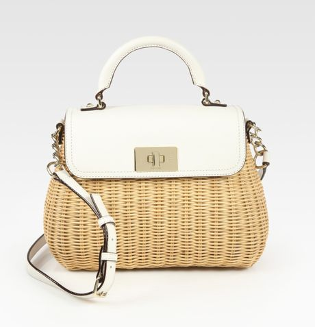 Kate Spade Little Nadine Wicker Leather Top Handle Bag In