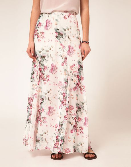 asos maxi skirt in grunge floral print in pink print lyst