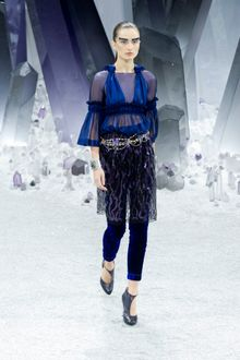 Chanel Fall 2012 Blue Velvet Leggings  - Lyst