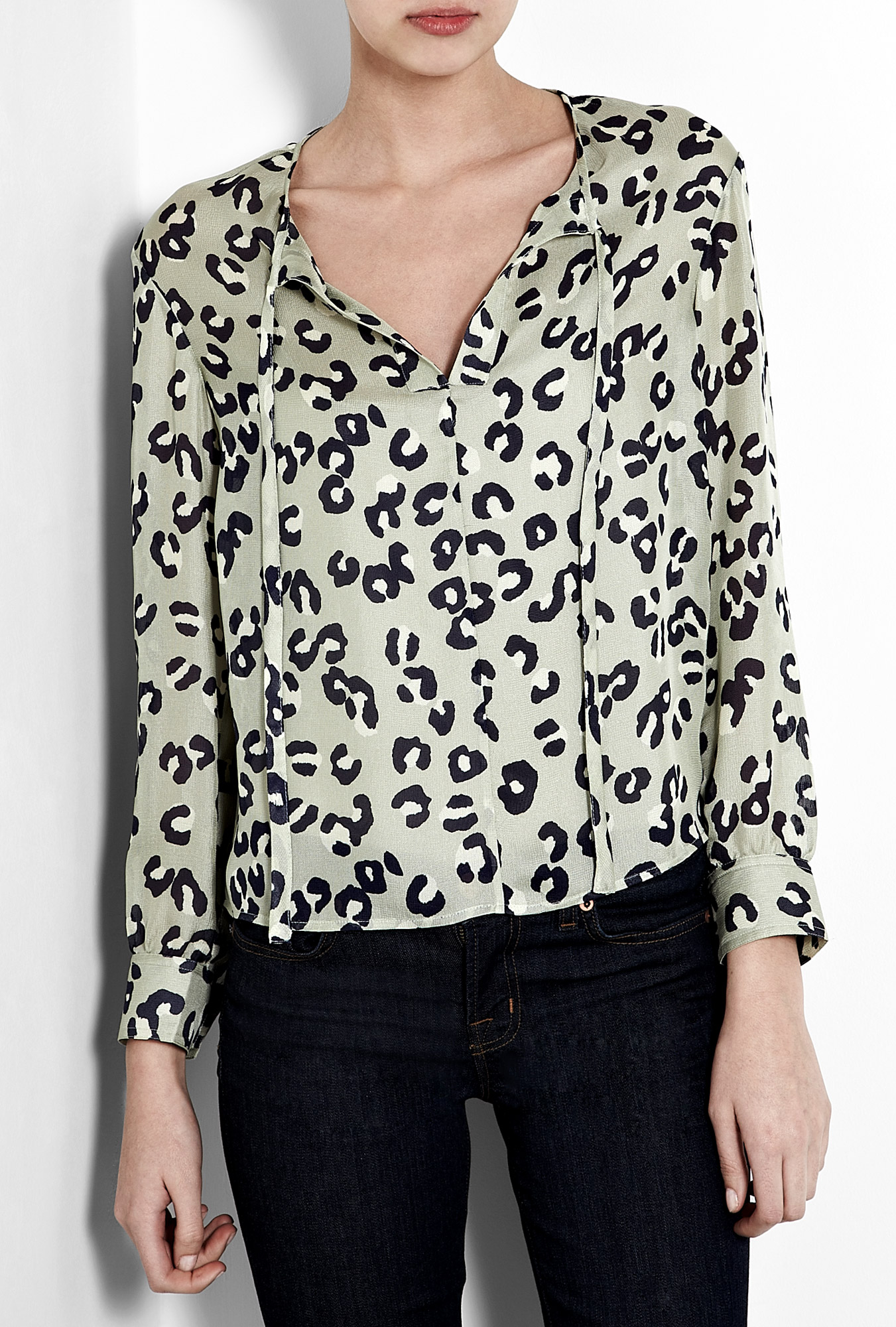 A P C Leopard Print Silk Tie Neck Blouse In Animal